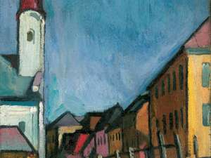 Is this colorful village scene painted by August Macke?