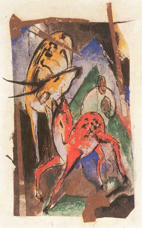 Franz Marc, Rotes Reh und gelbe Antilope, 1913, Mischtechnik und Collage (Silberpapier)