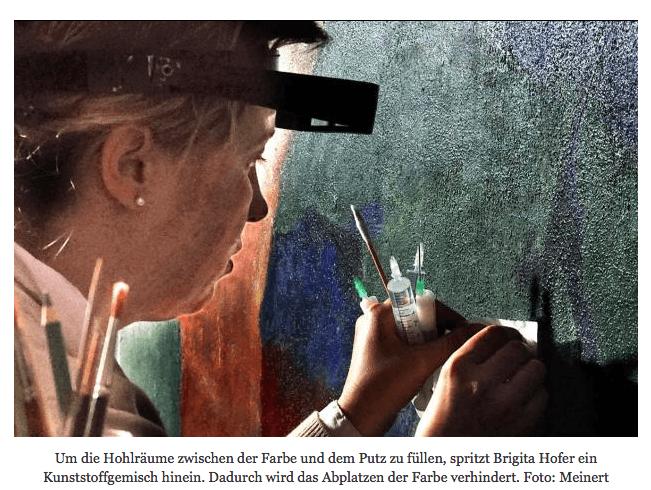 "Brigita Hofer cleans, fills, patches, and recolors ""Paradies."""