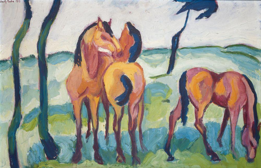 Helmuth Macke,  Drei Pferde,  1913