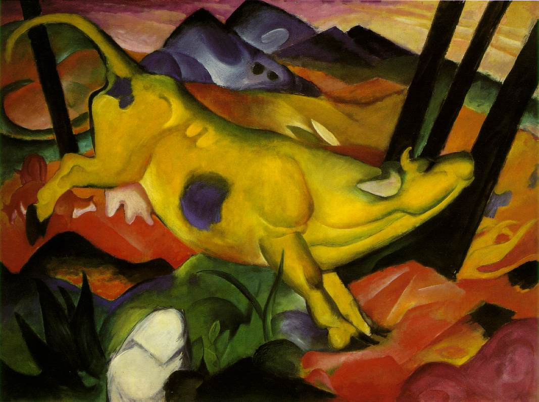Die gelbe Kuh, Franz Marc, 1911 189.2 × 140.52 cm Oil on canvas Solomon R. Guggenheim Museum, New York. That is Russi Marc in the lower left corner.