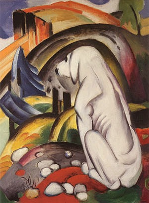 Hund vor der Welt, Franz Marc (1912). Oil on canvas, 118 by 83 centimetres, private collection, Switzerland