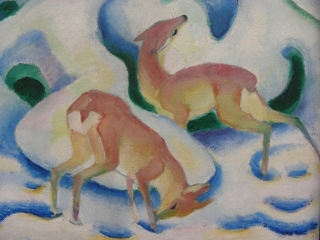 Franz Marc, Rehe im Schnee II, 1911, one of Marc's paintings discussed in my thesis.