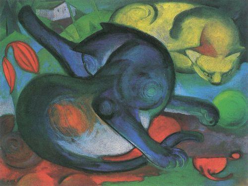 Franz Marc, Zwei Katzen, blau und gelb, 1912