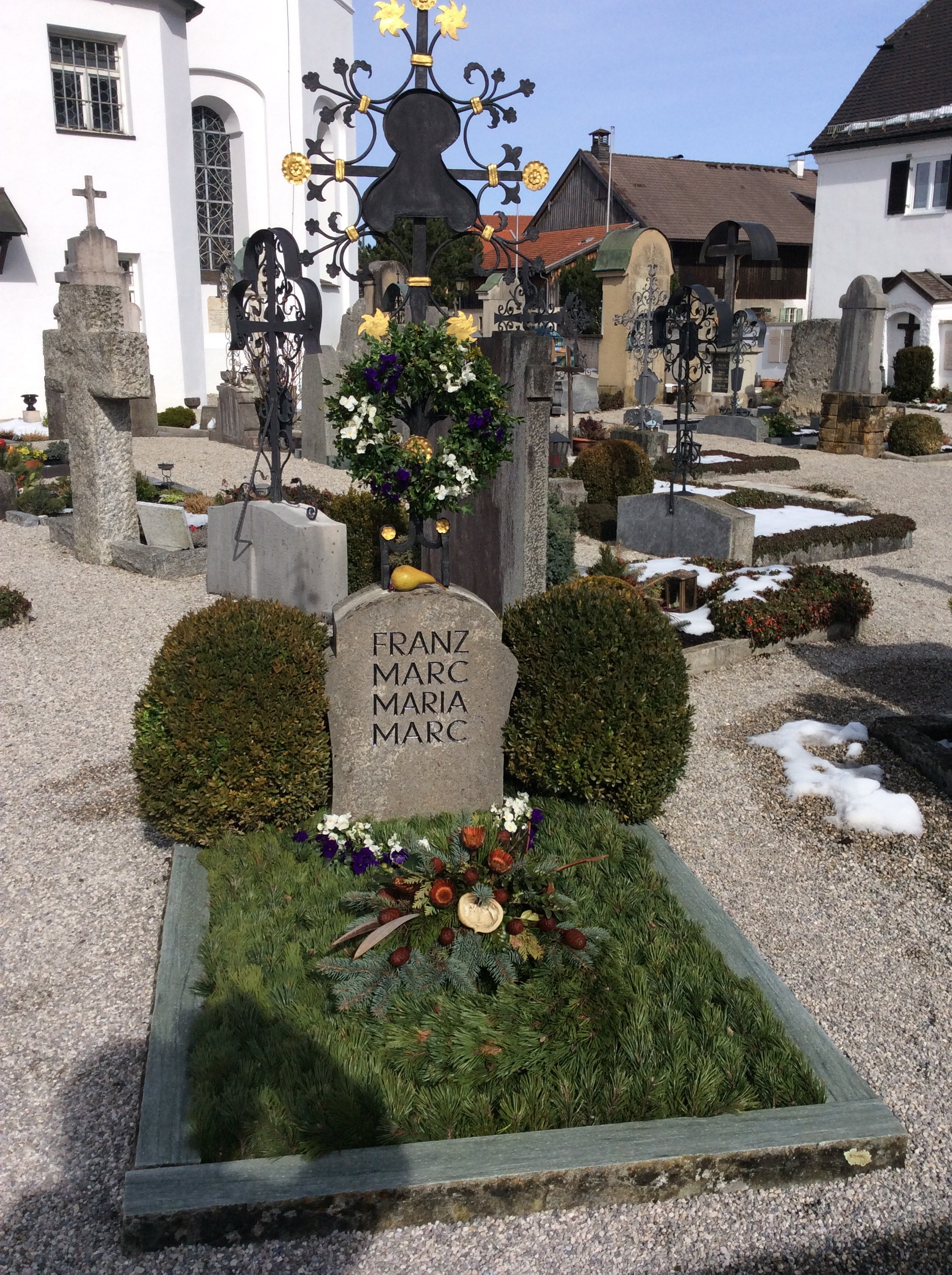 Indexical photo with authorial shadow; graves of Franz and Maria Marc