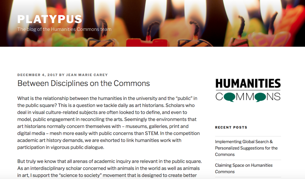 Between Disciplines on Humanities Commons